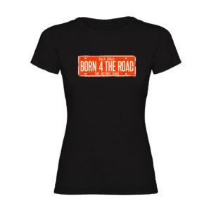 BORN 4 THE ROAD Camiseta negra mujer